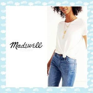 Madewell White knot front tee